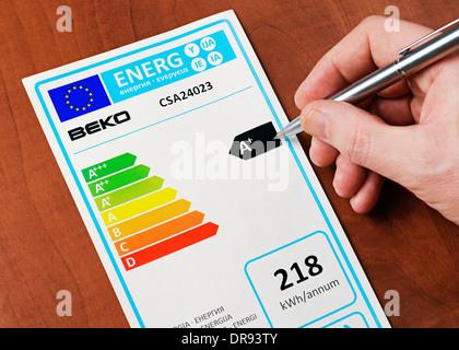 European Union Energy Consumption Label. - Stock Photo