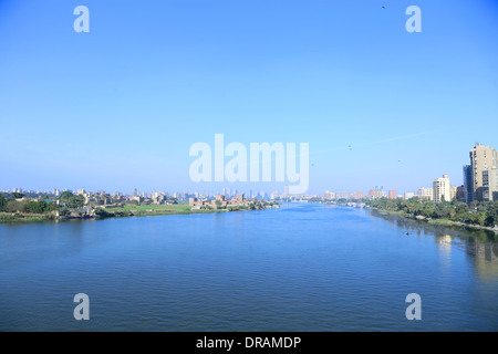 Wide of view of the City of Cairo and the Nile - Egypt  (taken from the ring road) - Stock Photo