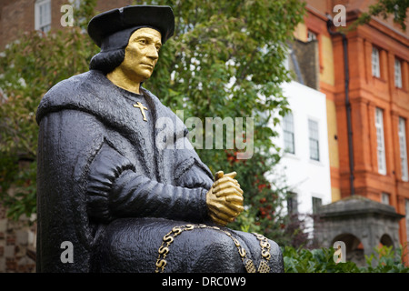 The statue of Sir Thomas Moore outside Chelsea Old Church, London, UK. - Stock Photo