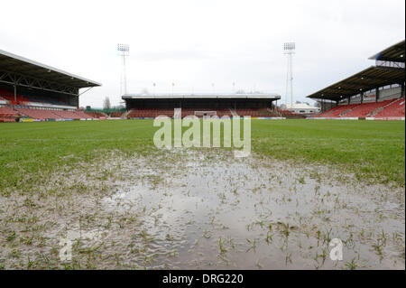 Wrexham, Wales, UK. 25th January 2014. The Skrill Conference Premier fixture between Wrexham and Grimsby Town on - Stock Photo