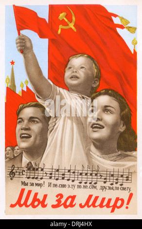 Soviet propaganda poster - We want Peace - Stock Photo