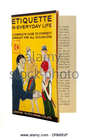 Small booklet from the 1920s on Etiquette in everyday life a correct conduct guide.EDITORIAL ONLY - Stock Photo