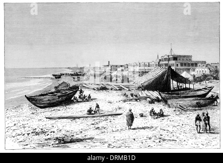 Madras. View taken from the Pier before the construction of the Harbour circa 1880 - Stock Photo