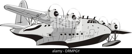 cartoon retro seaplane - Stock Photo