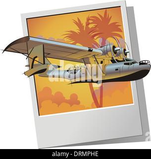retro seaplane - Stock Photo