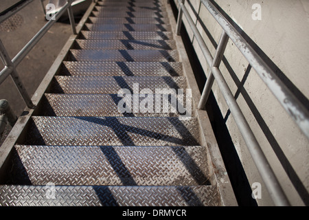 Photograph of Metal Stairs in Seattle Washington with a Shallow Depth of Field. - Stock Photo