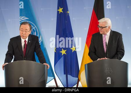 Berlin, Germany. 30th Jan, 2014. German Foreign Minister Frank-Walter Steinmeier (SPD) received the Secretary-General - Stock Photo