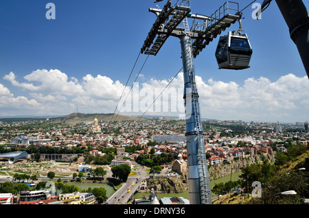 Funicular railway from Rike Park to Narikala Fortress in old Tbilisi, Republic of Georgia - Stock Photo