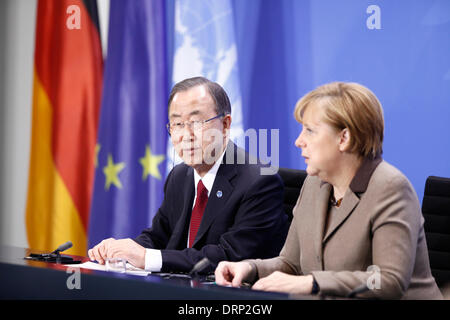 Berlin, Germany. January 30th, 2014. German Chancellor Merkel receives the Secretary-General of the United Nations, - Stock Photo