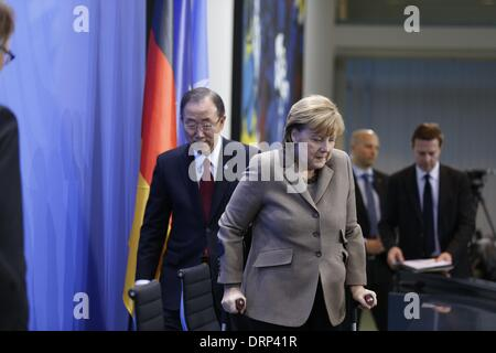 Berlin, Germany. 30th Jan, 2014. German Chancellor Merkel receives the Secretary-General of the United Nations, - Stock Photo