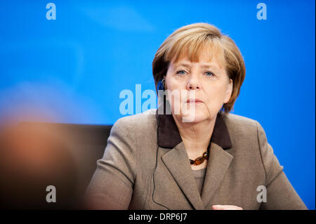 Berlin, Germany. January 30th 2014. Press conference with Federal Chancellor Angela Merkel and Secretary-General - Stock Photo