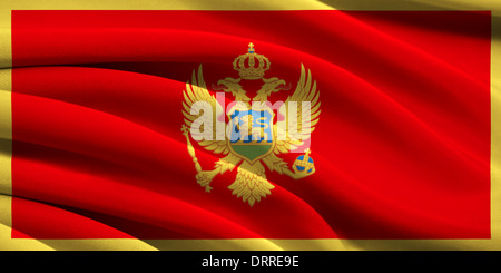 Flag of Montenegro waving in the wind - Stock Photo