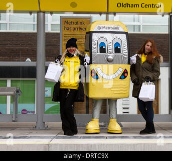 Oldham, Manchester, UK 1st February, 2014. Mascot  'Met Man'  at the New Transport Link at Oldham Central station. - Stock Photo