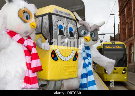 Furry Owl mascot at Oldham, Manchester, UK 1st February, 2014. Town Centre mascots, Ollie and Millie at the New - Stock Photo