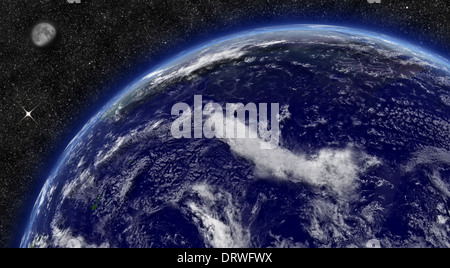 Pacific ocean on planet Earth from space with Moon and stars in the background. Elements of this image furnished - Stock Photo