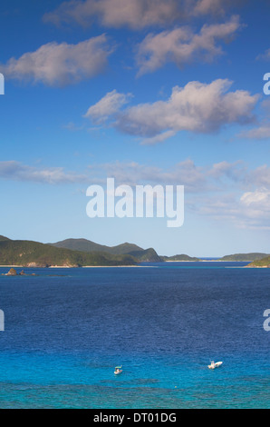 Boat moored off Nishibama Beach, Aka Island, Kerama Islands, Okinawa, Japan - Stock Photo