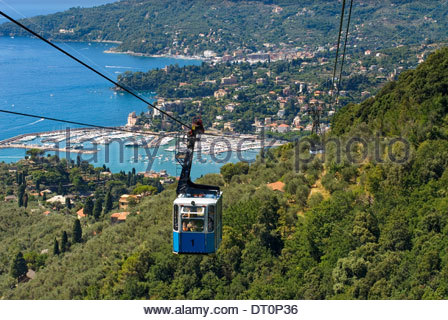 View over the Bay of Rapallo from the Cable Car to the Chiesa Madonna di Montallegro at the Ligurian Coast, North - Stock Photo