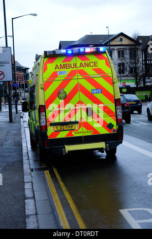 Ambulance Attending And Emergency ,Nottingham City Center. - Stock Photo