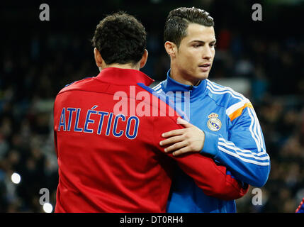 Madrid, Spain. 5th Feb, 2014. Cristiano Ronaldo (Real Madrid - R) during the Spanish King's Cup Semifinal, between - Stock Photo
