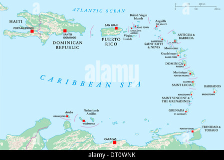 Political map of Lesser Antilles, Haiti and Dominican Republic with capitals, national borders, rivers and lakes. - Stock Photo