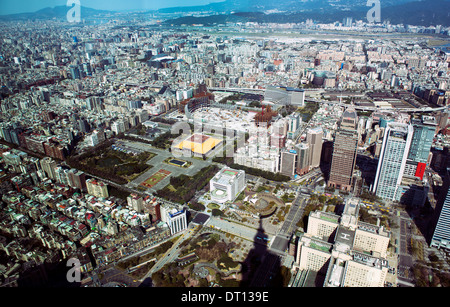 Taipei , with the Sun Yat Sen Memorial, as seen from the top of the Taipei 101 skyscraper. - Stock Photo