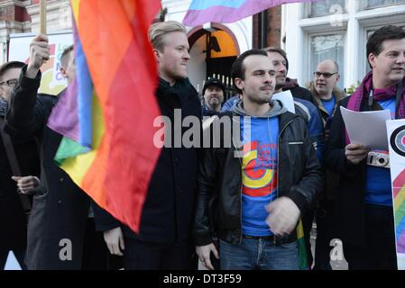 London England, 7th January 2014 : London Gay Men's Chorus protest of the opening Olympic Games in Sochi! of Russian's - Stock Photo