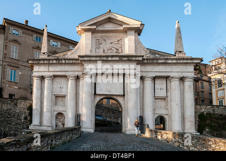 Gate St. James in the Upper Town, Bergamo, Lombardia, Italy - Stock Photo