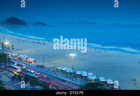 View of Copacabana beach at night, Rio De Janeiro, Brazil - Stock Photo