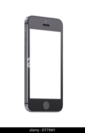 Bottom up view of rotated at a slight angle black modern mobile smart phone with blank screen isolated on white - Stock Photo