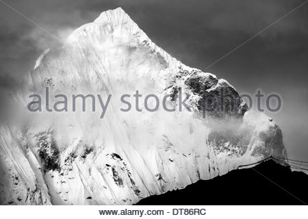 The Peak And The Prayer Flags, Nepal - Stock Photo