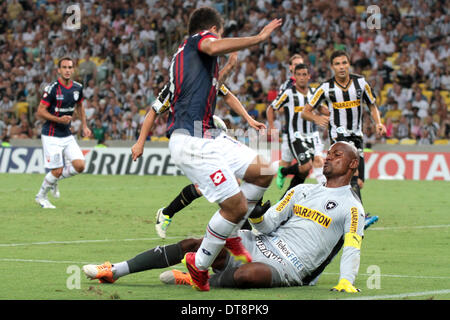 Rio de Janeiro, Brazil. 11th February 2014.  Jefferson goalkeeper of Botafogo (BRA) during the match against San - Stock Photo