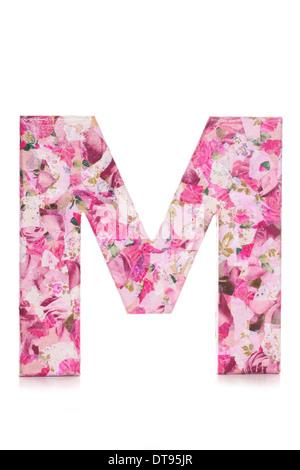 Letter M decoupage studio cutout - Stock Photo