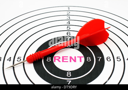 Rent text in target - Stock Photo