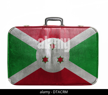 Vintage travel bag with flag of Burundi - Stock Photo