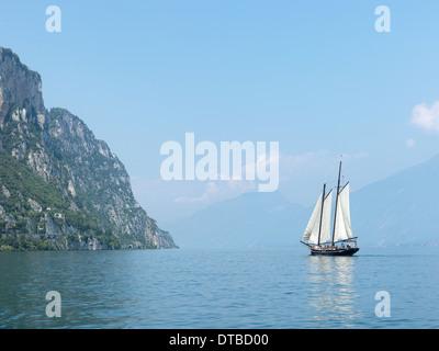 Tremosine , Italy, Two Master Sailboat on Lake Garda - Stock Photo