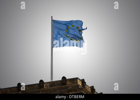 Berlin, Germany , the European flag on the Reichstag - Stock Photo