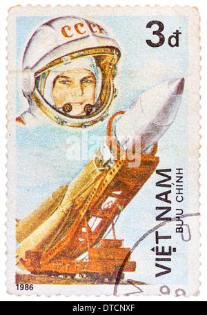 VIETNAM - CIRCA 1986: Postage stamp printed in Vietnam shows first spaceman Yuri Gagarin, series, circa 1986 - Stock Photo
