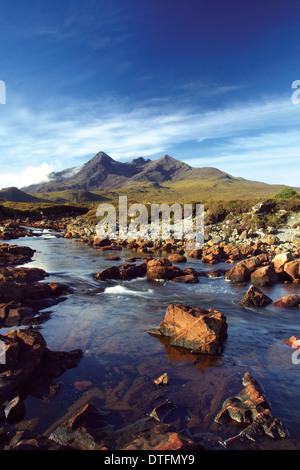 Sgurr nan Gillean, The Black Cuillin, from Sligachan, Isle of Skye, Inner Hebrides, Highland - Stock Photo