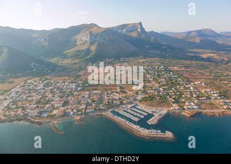 Colònia de Sant Pere resort and Bec de Farrutx mountain. Artà area. Aerial view. Majorca, Balearic islands, Spain - Stock Photo