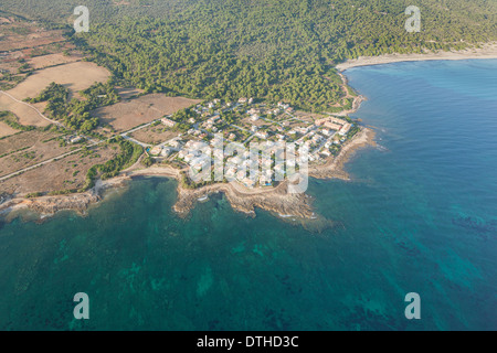 Aerial view of S'Estanyol resort and Platja de sa Canova beach (right). Artà area. Majorca, Balearic islands, Spain - Stock Photo