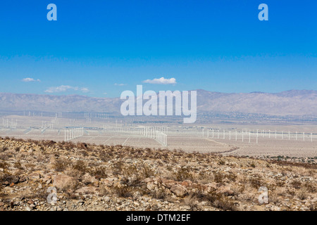 Wind farms in Palm Spring area of California - Stock Photo
