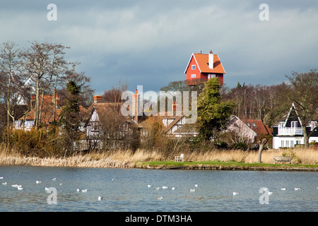 The 'House in the Clouds' at Thorpeness, Suffolk. Converted water tower now used as holiday accommodation. - Stock Photo