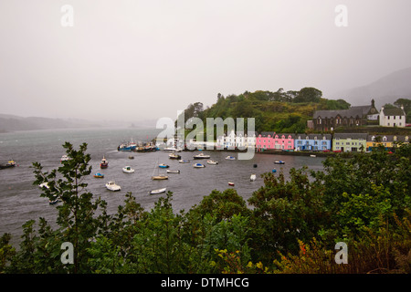 Colorful buildings in Portree, Isle of Skye - Stock Photo