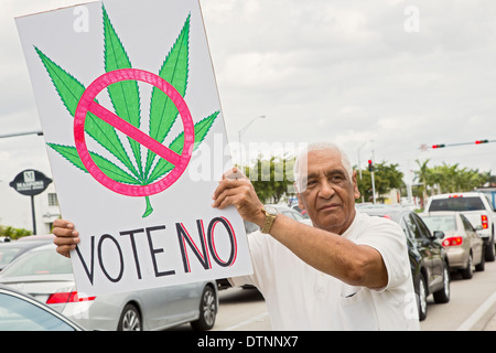 Miami, Florida - Cuban exiles, members of the Tea Party, oppose the legalization of medical marijuana. - Stock Photo