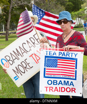 Cuban exiles, members of the Tea Party, rally on a variety of issues including opposition to President Obama and - Stock Photo