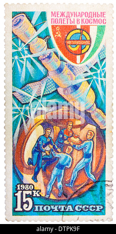 Stamp printed in The Soviet Union devoted to the international partnership between Soviet Union and Bulgaria - Stock Photo