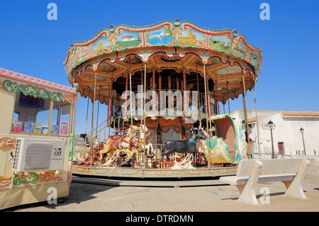 Carrousel, Les Saintes-Maries-de-la-Mer, Camargue, Bouches-du-Rhone, Provence-Alpes-Cote d'Azur, Southern France - Stock Photo