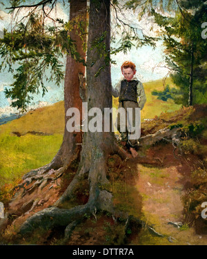 Bauernjunge am Waldrand - Farm boy to the forest in 1862 Hans Thoma 1839 - 1924 German German - Stock Photo