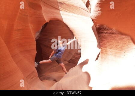 Climber in canyon - Stock Photo