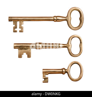 Three Antique Brass Keys isolated on white. - Stock Photo